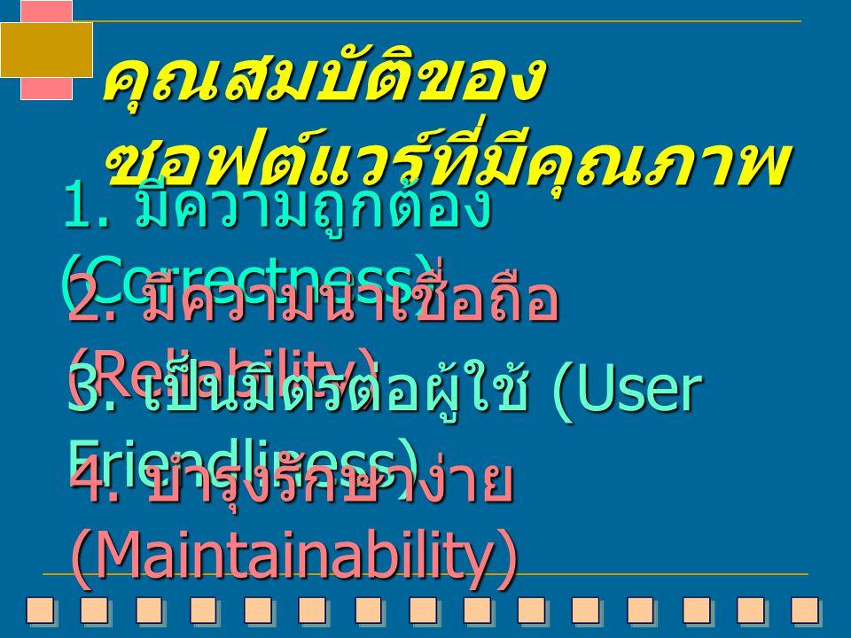 คุณสมบัติของ ซอฟต์แวร์ที่มีคุณภาพ 1. มีความถูกต้อง (Correctness) 2. มีความน่าเชื่อถือ (Reliability) 3. เป็นมิตรต่อผู้ใช้ (User Friendliness) 4. บำรุงร