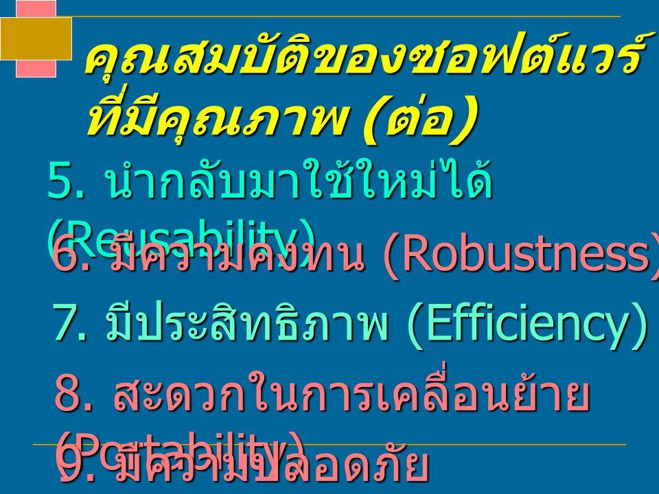 คุณสมบัติของซอฟต์แวร์ ที่มีคุณภาพ ( ต่อ ) 5. นำกลับมาใช้ใหม่ได้ (Reusability) 6. มีความคงทน (Robustness) 7. มีประสิทธิภาพ (Efficiency) 8. สะดวกในการเค