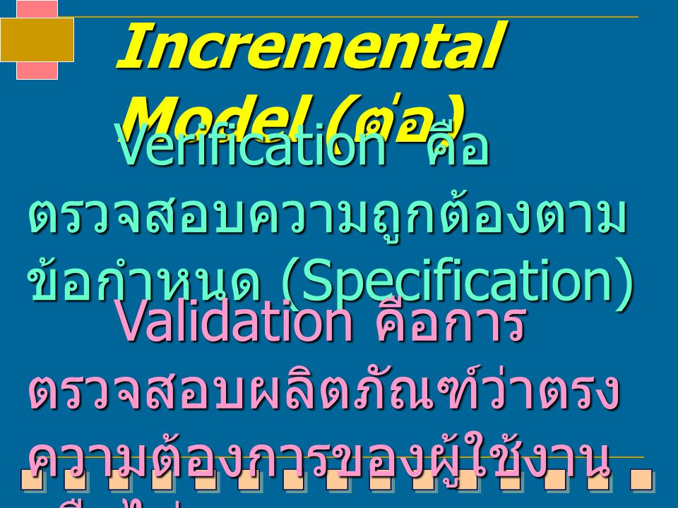 Incremental Model ( ต่อ ) Verification คือ ตรวจสอบความถูกต้องตาม ข้อกำหนด (Specification) Verification คือ ตรวจสอบความถูกต้องตาม ข้อกำหนด (Specificati