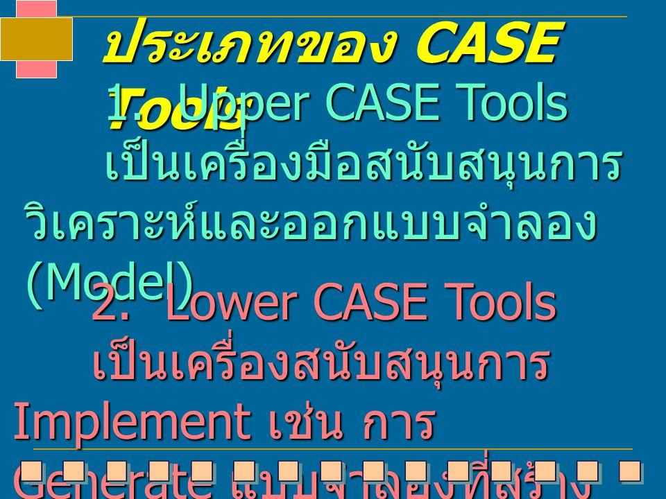 ประเภทของ CASE Tools 1. Upper CASE Tools 1. Upper CASE Tools เป็นเครื่องมือสนับสนุนการ วิเคราะห์และออกแบบจำลอง (Model) เป็นเครื่องมือสนับสนุนการ วิเคร