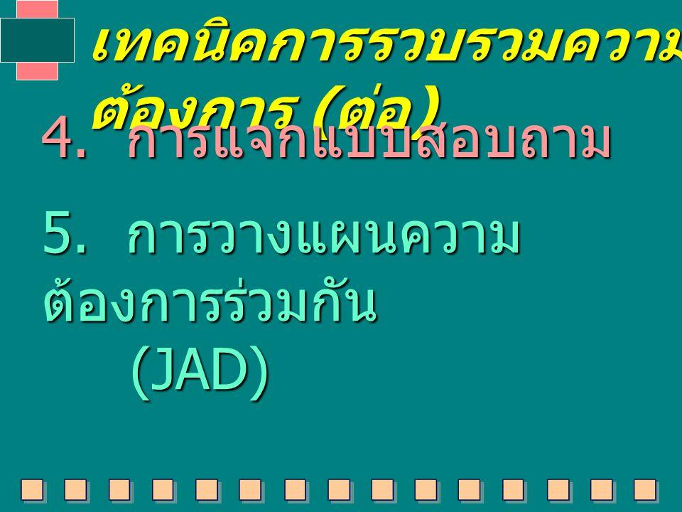 เทคนิคการรวบรวมความ ต้องการ ( ต่อ ) 4. การแจกแบบสอบถาม 5. การวางแผนความ ต้องการร่วมกัน (JAD) (JAD)