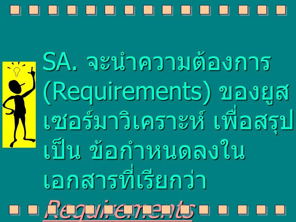 SA. จะนำความต้องการ (Requirements) ของยูส เซอร์มาวิเคราะห์ เพื่อสรุป เป็น ข้อกำหนดลงใน เอกสารที่เรียกว่า Requirements Specification