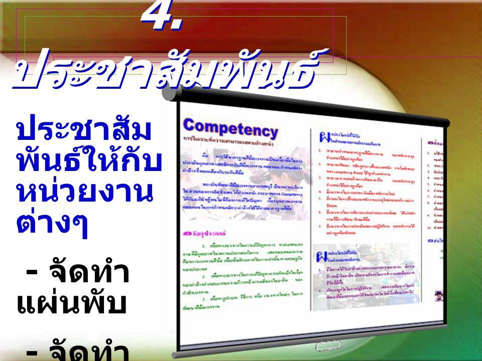 4. ประชาสัมพันธ์ ประชาสัม พันธ์ให้กับ หน่วยงาน ต่างๆ - จัดทำ แผ่นพับ - จัดทำ CD