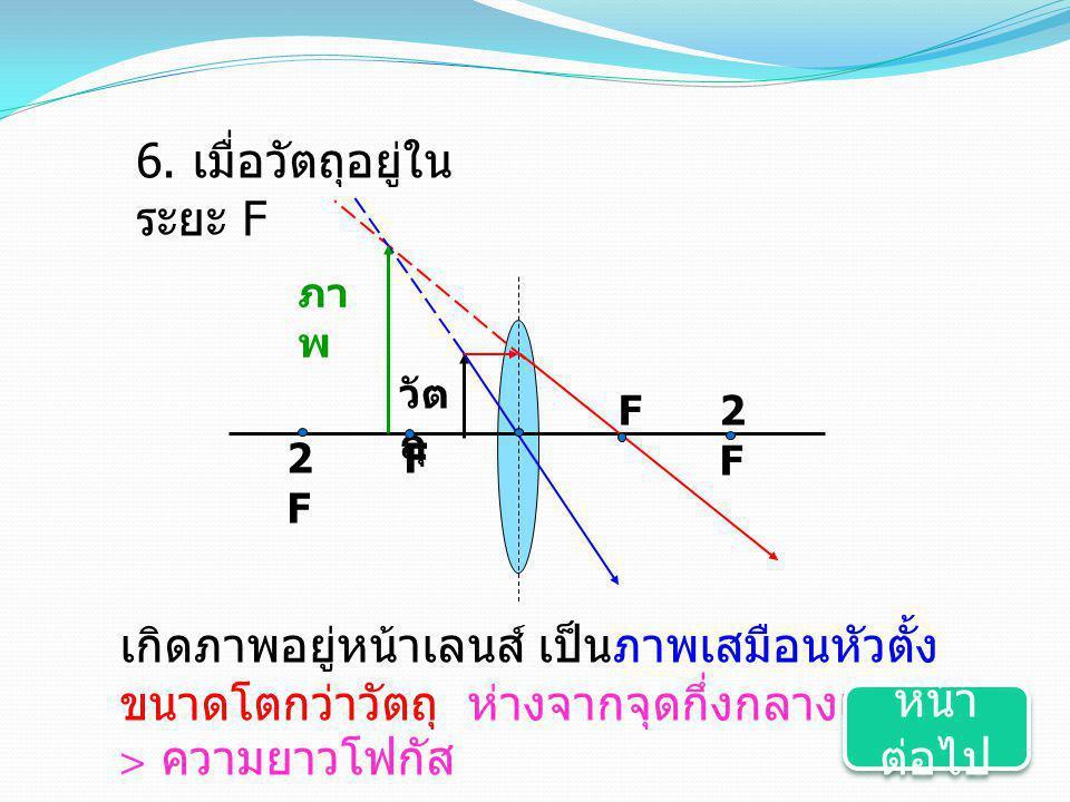 6. เมื่อวัตถุอยู่ใน ระยะ F F2F2F F วัต ถุ ภา พ 2F2F เกิดภาพอยู่หน้าเลนส์ เป็นภาพเสมือนหัวตั้ง ขนาดโตกว่าวัตถุ ห่างจากจุดกึ่งกลางเลนส์ > ความยาวโฟกัส ห