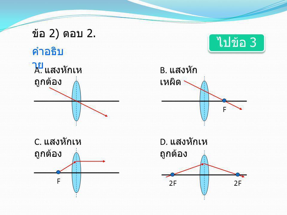 ข้อ 2) ตอบ 2. คำอธิบ าย A. แสงหักเห ถูกต้อง F B. แสงหัก เหผิด F C. แสงหักเห ถูกต้อง 2F D. แสงหักเห ถูกต้อง ไปข้อ 3 ไปข้อ 3