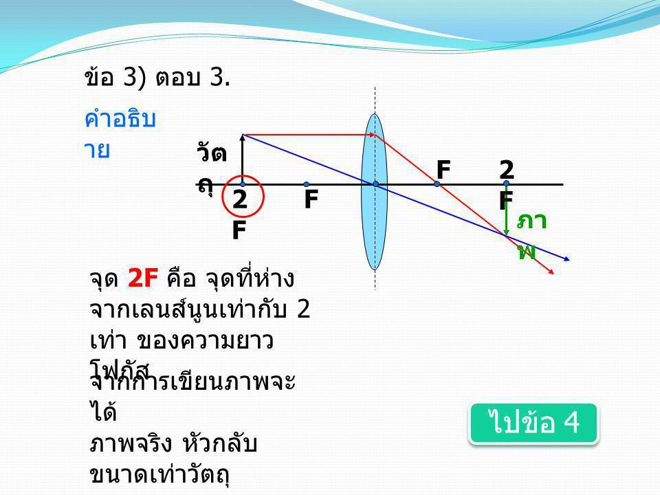 F2F2F F วัต ถุ ภา พ 2F2F ข้อ 3 ) ตอบ 3. คำอธิบ าย จุด 2F คือ จุดที่ห่าง จากเลนส์นูนเท่ากับ 2 เท่า ของความยาว โฟกัส จากการเขียนภาพจะ ได้ ภาพจริง หัวกลั