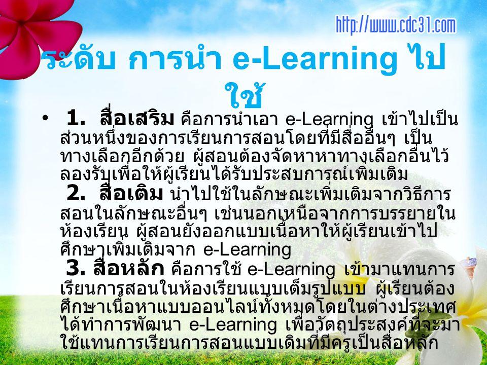 1. สื่อเสริม คือการนำเอา e-Learning เข้าไปเป็น ส่วนหนึ่งของการเรียนการสอนโดยที่มีสื่ออื่นๆ เป็น ทางเลือกอีกด้วย ผู้สอนต้องจัดหาหาทางเลือกอื่นไว้ ลองรั