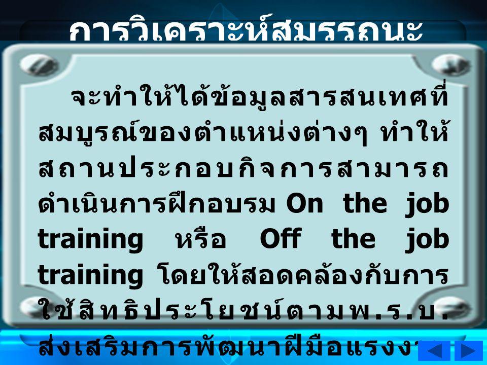 การวิเคราะห์สมรรถนะ Competency จะทำให้ได้ข้อมูลสารสนเทศที่ สมบูรณ์ของตำแหน่งต่างๆ ทำให้ สถานประกอบกิจการสามารถ ดำเนินการฝึกอบรม On the job training หรือ Off the job training โดยให้สอดคล้องกับการ ใช้สิทธิประโยชน์ตามพ.