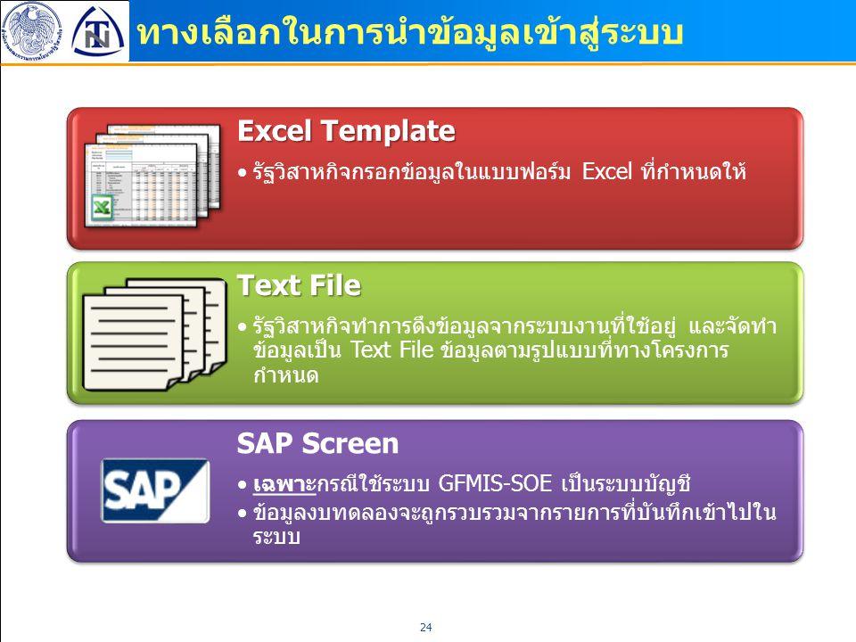 ทางเลือกในการนำข้อมูลเข้าสู่ระบบ 24 Excel Template รัฐวิสาหกิจกรอกข้อมูลในแบบฟอร์ม Excel ที่กำหนดให้ Text File รัฐวิสาหกิจทำการดึงข้อมูลจากระบบงานที่ใ