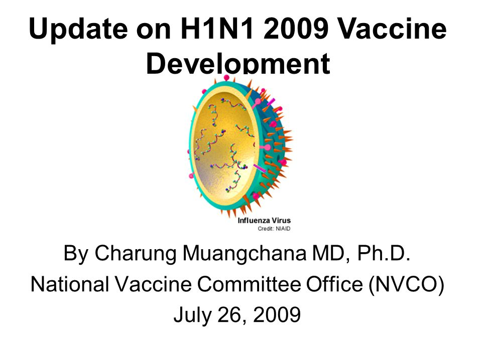 By Charung Muangchana MD, Ph.D. National Vaccine Committee Office (NVCO) July 26, 2009 Update on H1N1 2009 Vaccine Development
