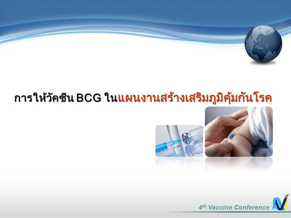 4 th Vaccine Conference การให้วัคซีน BCG ใน แผนงานสร้างเสริมภูมิคุ้มกันโรค
