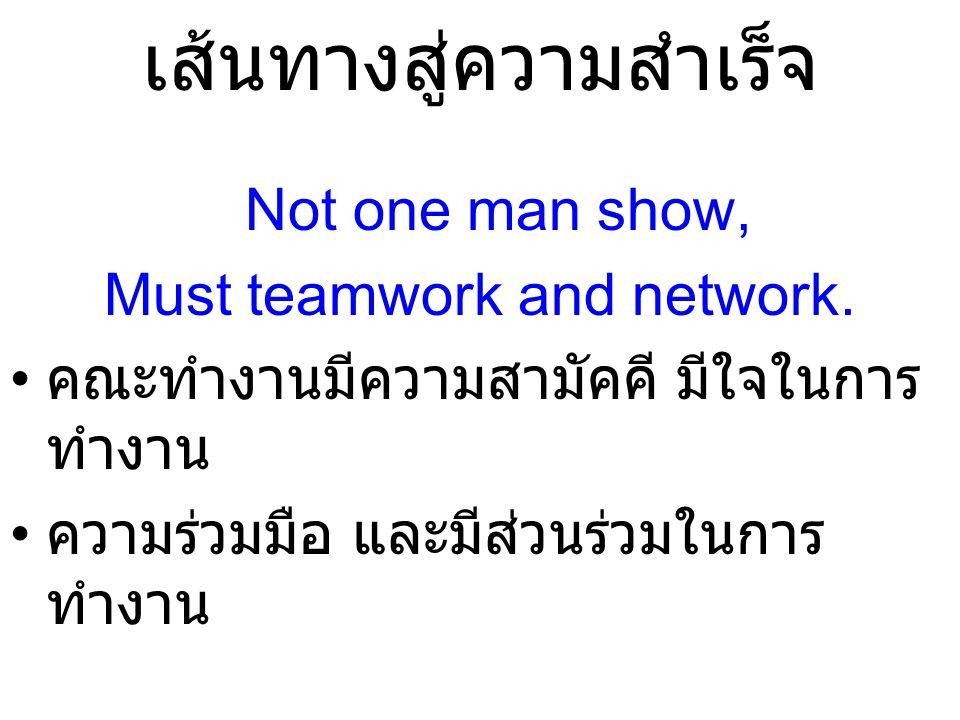 เส้นทางสู่ความสำเร็จ Not one man show, Must teamwork and network. คณะทำงานมีความสามัคคี มีใจในการ ทำงาน ความร่วมมือ และมีส่วนร่วมในการ ทำงาน