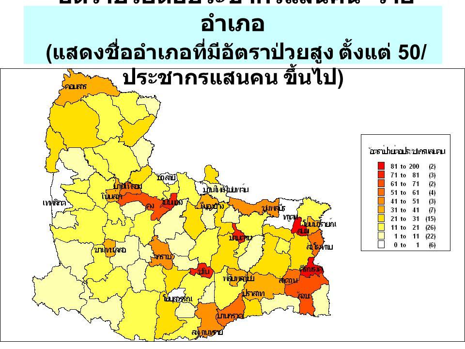 อัตราป่วยต่อประชากรแสนคน ราย อำเภอ ( แสดงชื่ออำเภอที่มีอัตราป่วยสูง ตั้งแต่ 50/ ประชากรแสนคน ขึ้นไป )