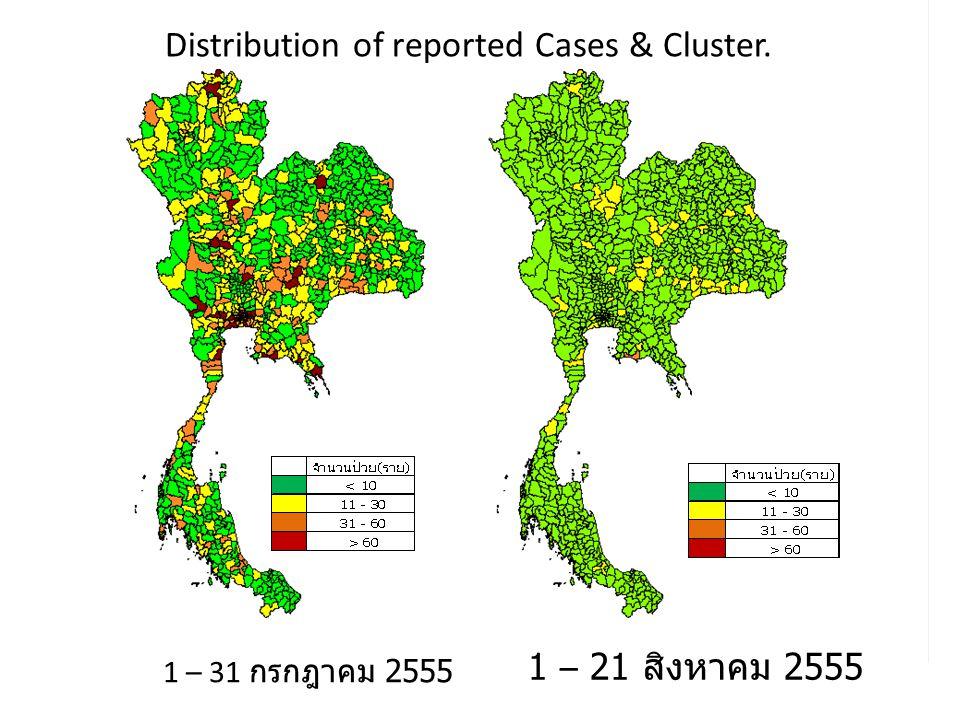 1 – 31 กรกฎาคม 2555 1 – 21 สิงหาคม 2555 Distribution of reported Cases & Cluster.