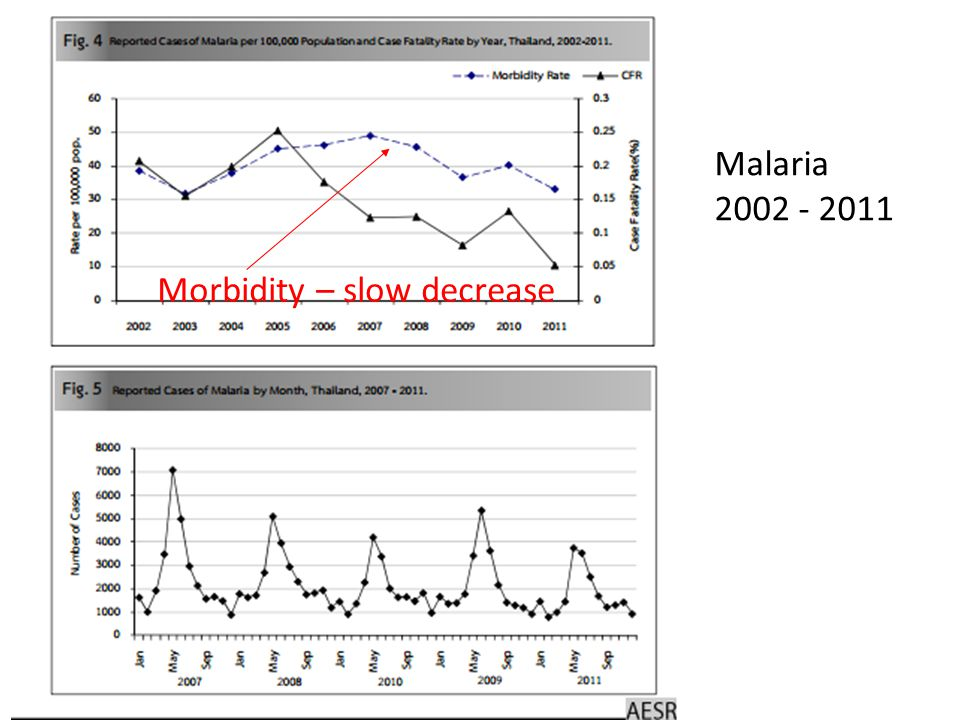 Morbidity – slow decrease Malaria 2002 - 2011