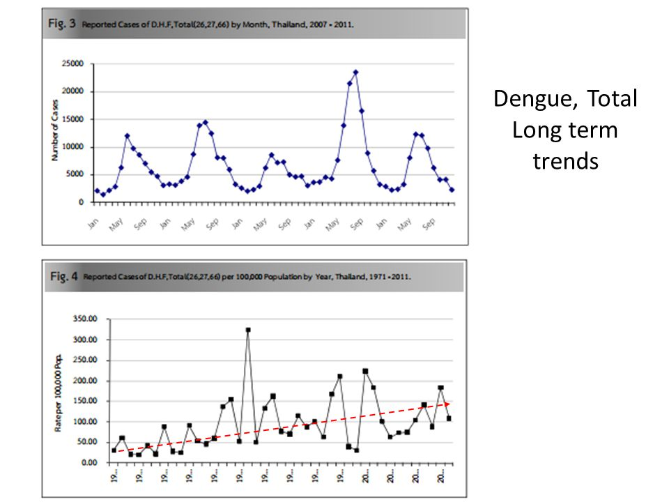 Dengue, Total Long term trends