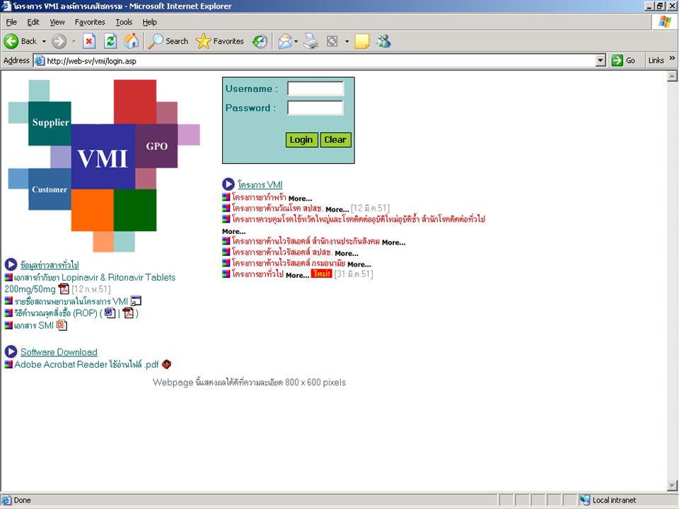 คลิกที่ปุ่ม VMI / SMI เพื่อเข้ามา Log in เข้าสู่เวบไซต์ขององค์การ เภสัชกรรมที่ http://www.gpo.or.th