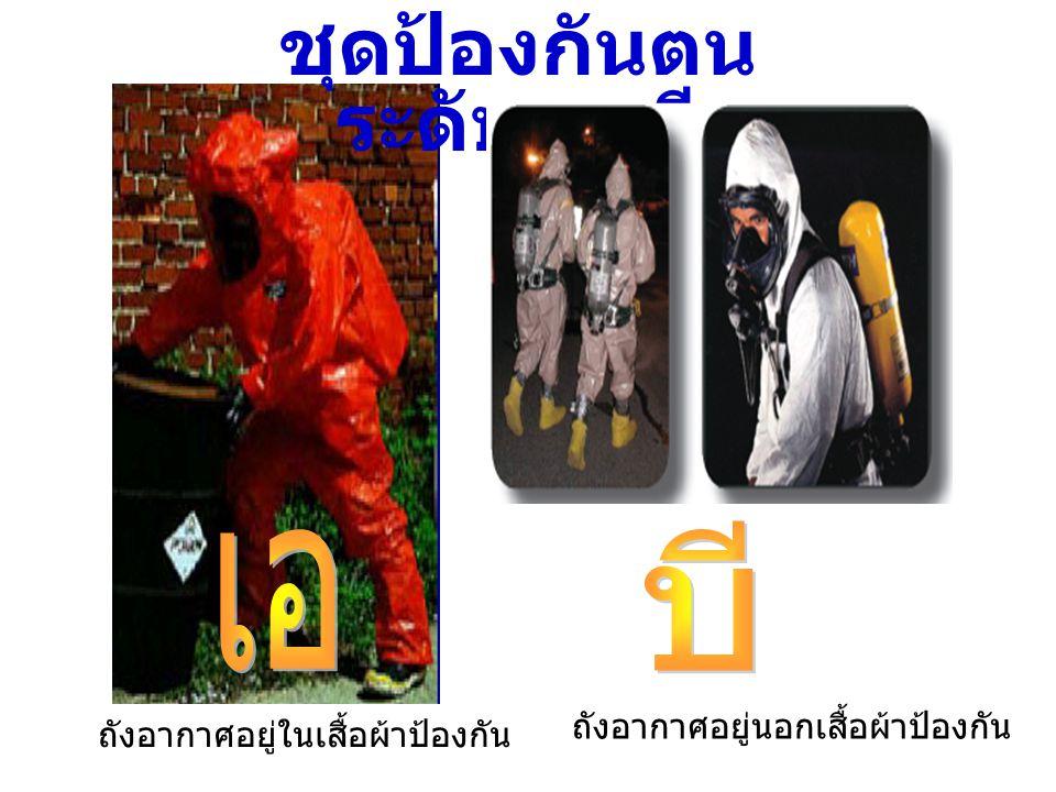 ชุดป้องกันตน ระดับ เอ บี ถังอากาศอยู่ในเสื้อผ้าป้องกัน ถังอากาศอยู่นอกเสื้อผ้าป้องกัน