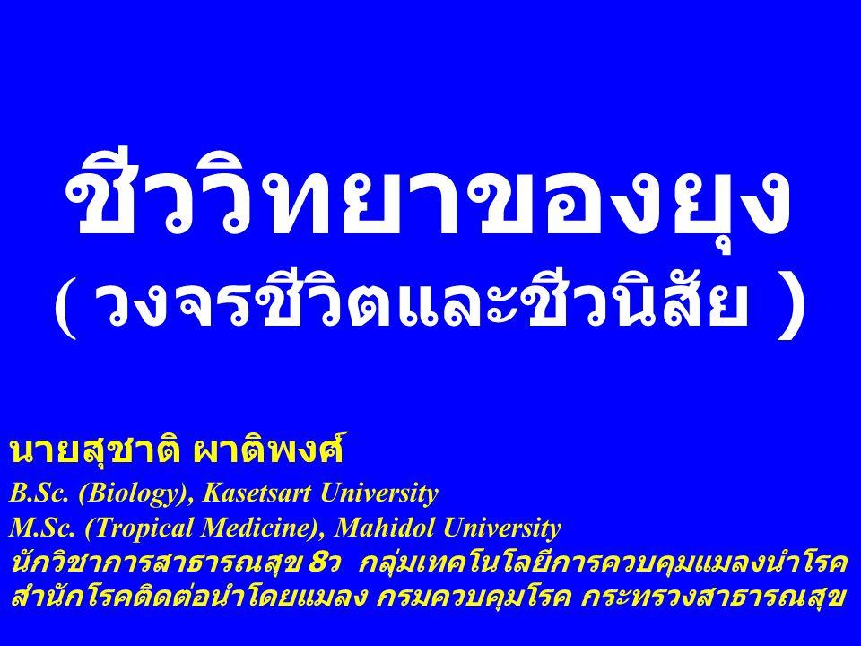 ชีววิทยาของยุง ( วงจรชีวิตและชีวนิสัย ) นายสุชาติ ผาติพงศ์ B.Sc. (Biology), Kasetsart University M.Sc. (Tropical Medicine), Mahidol University นักวิชา