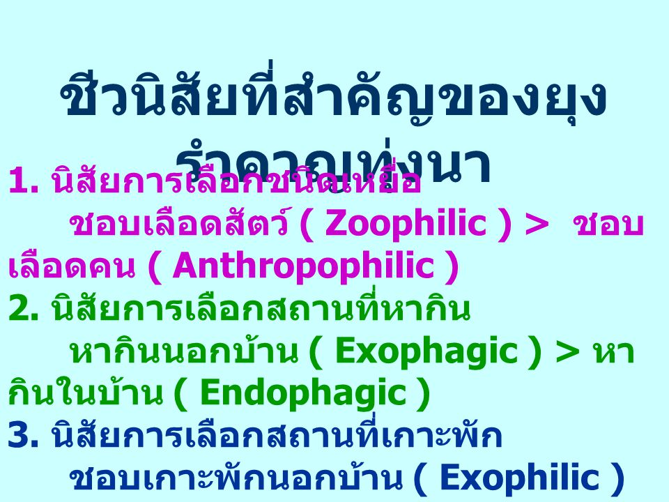 ชีวนิสัยที่สำคัญของยุง รำคาญทุ่งนา 1. นิสัยการเลือกชนิดเหยื่อ ชอบเลือดสัตว์ ( Zoophilic ) > ชอบ เลือดคน ( Anthropophilic ) 2. นิสัยการเลือกสถานที่หากิ