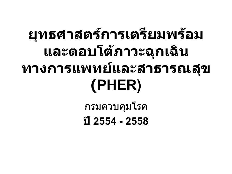ยุทธศาสตร์การเตรียมพร้อม และตอบโต้ภาวะฉุกเฉิน ทางการแพทย์และสาธารณสุข (PHER) กรมควบคุมโรค ปี 2554 - 2558
