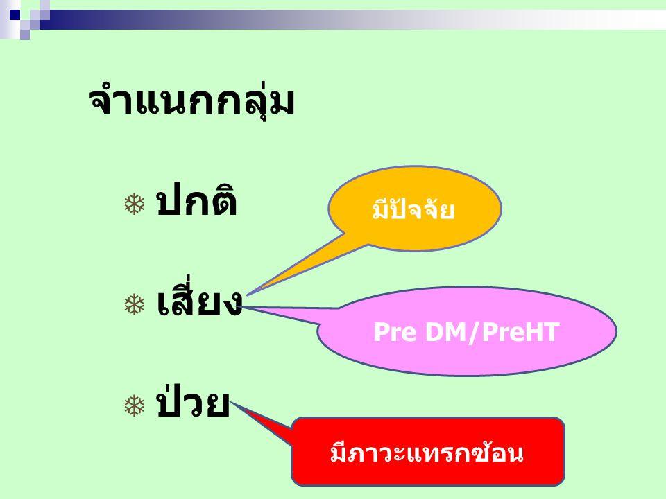 จำแนกกลุ่ม  ปกติ  เสี่ยง  ป่วย มีปัจจัย Pre DM/PreHT มีภาวะแทรกซ้อน