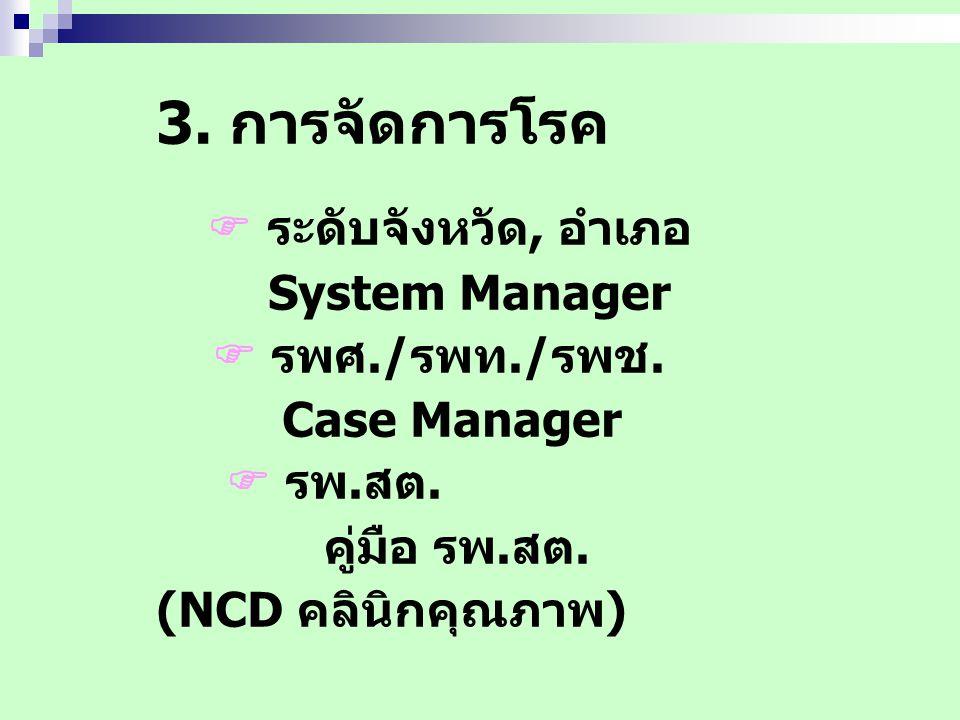 3. การจัดการโรค  ระดับจังหวัด, อำเภอ System Manager  รพศ./รพท./รพช. Case Manager  รพ.สต. คู่มือ รพ.สต. (NCD คลินิกคุณภาพ)