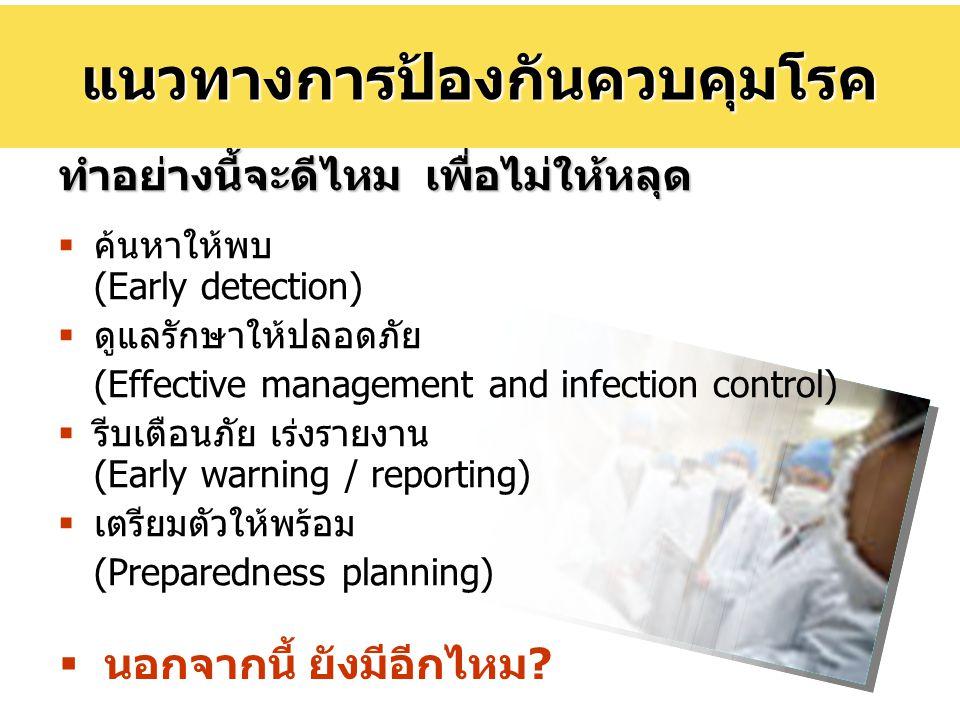 ทำอย่างนี้จะดีไหม เพื่อไม่ให้หลุด  ค้นหาให้พบ (Early detection)  ดูแลรักษาให้ปลอดภัย (Effective management and infection control)  รีบเตือนภัย เร่ง