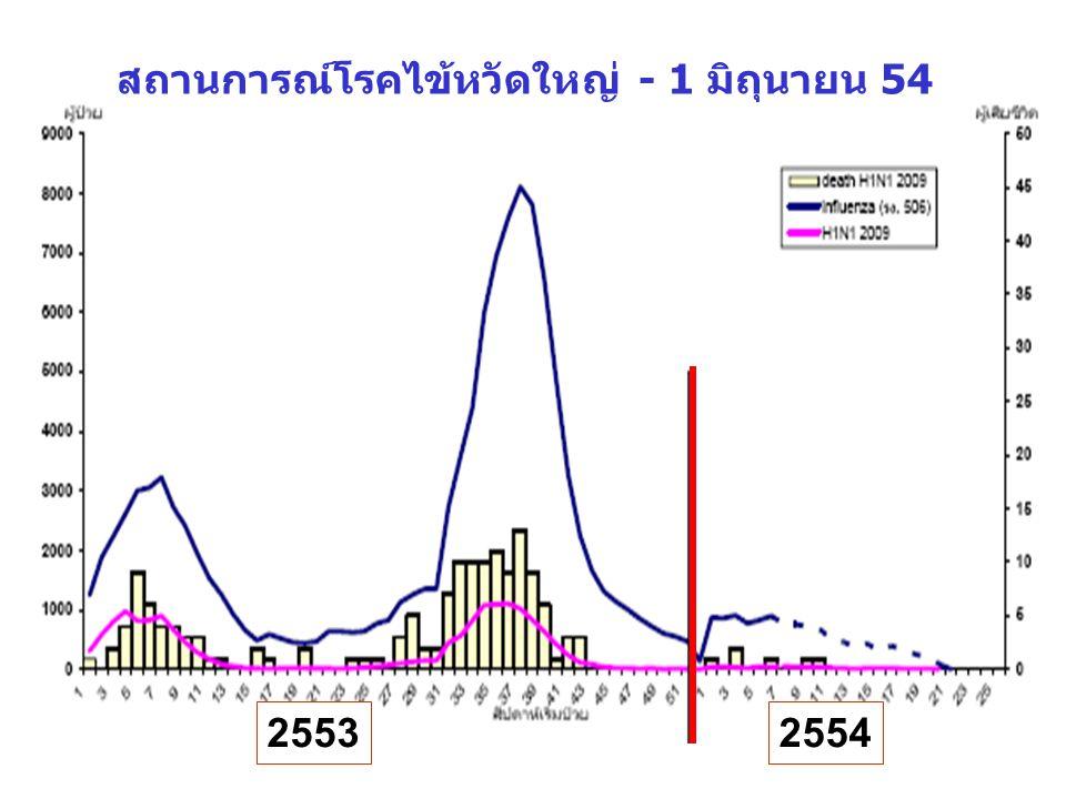 สถานการณ์โรคไข้หวัดใหญ่ - 1 มิถุนายน 54 2553 2554