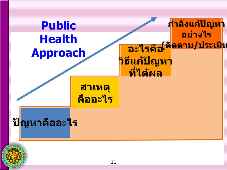 11 Public Health Approach What problem? What causes? What works? What and How are we doing? ปัญหาคืออะไร สาเหตุ คืออะไร อะไรคือ วิธีแก้ปัญหา ที่ได้ผล