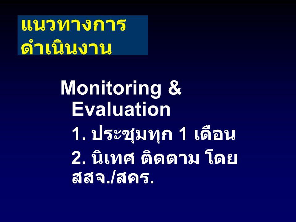 แนวทางการ ดำเนินงาน Monitoring & Evaluation 1. ประชุมทุก 1 เดือน 2. นิเทศ ติดตาม โดย สสจ./ สคร.