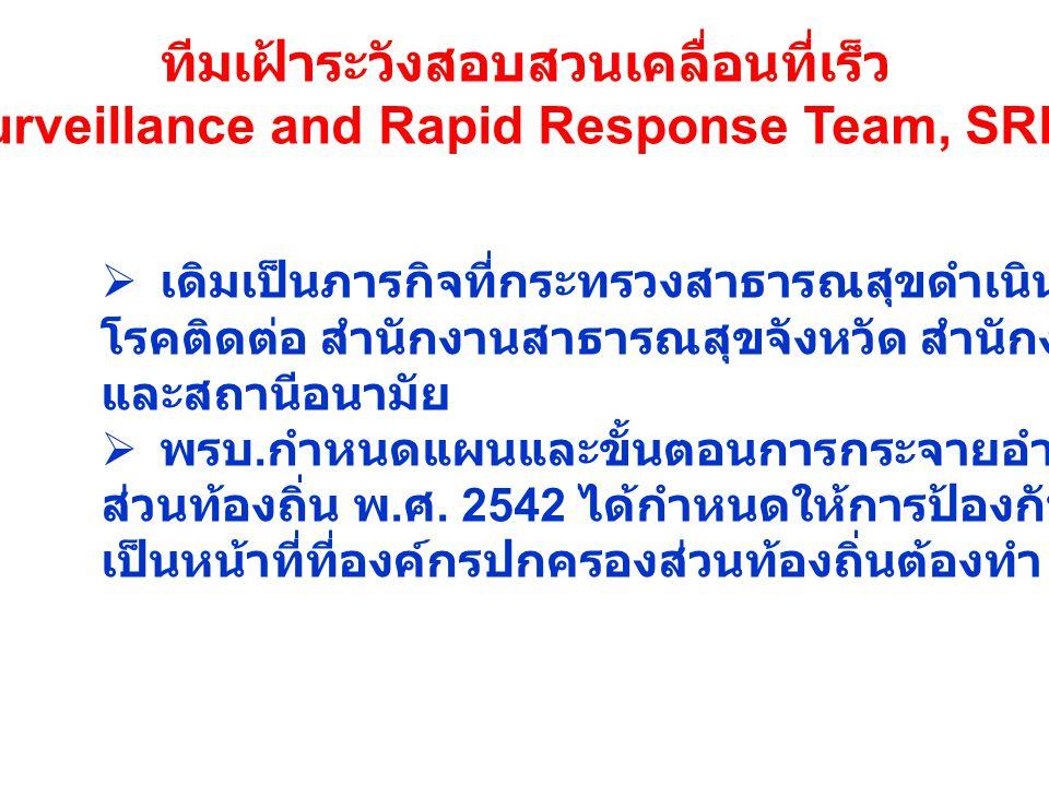 ทีมเฝ้าระวังสอบสวนเคลื่อนที่เร็ว (Surveillance and Rapid Response Team, SRRT)  เดิมเป็นภารกิจที่กระทรวงสาธารณสุขดำเนินการผ่านทางกรมควบคุม โรคติดต่อ ส