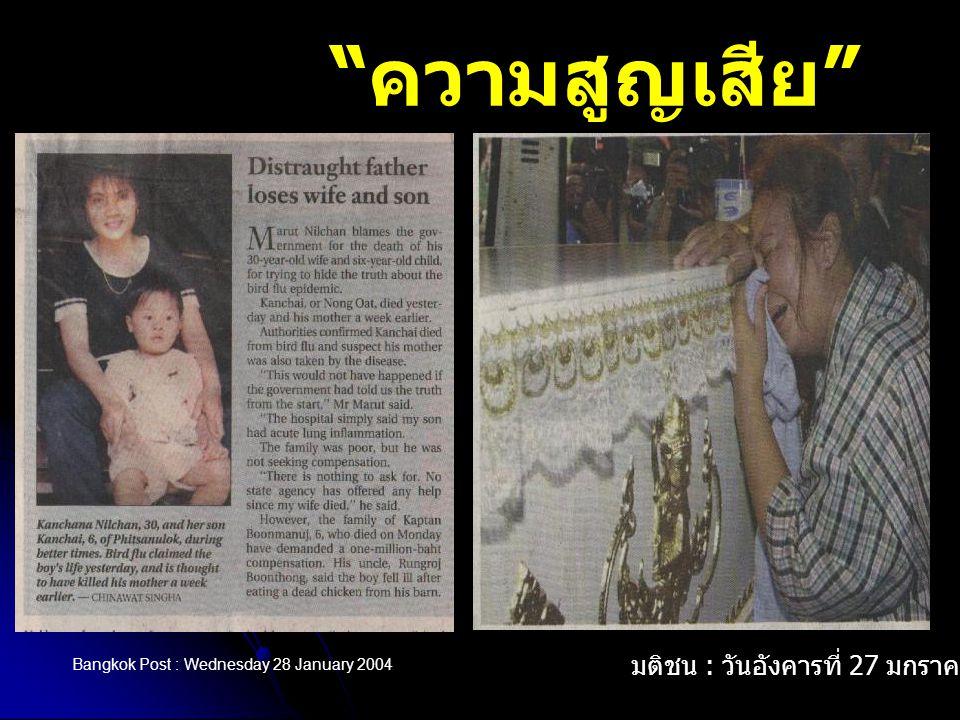 """"""" ความสูญเสีย """" Bangkok Post : Wednesday 28 January 2004 มติชน : วันอังคารที่ 27 มกราคม 2547"""
