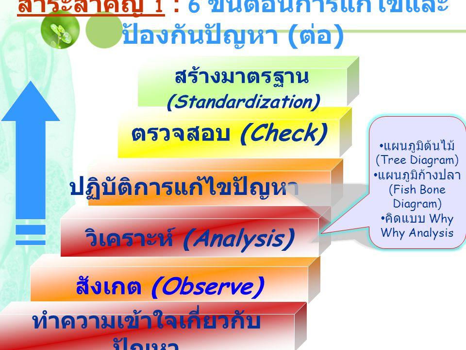 สังเกต (Observe) ปฏิบัติการแก้ไขปัญหา ทำความเข้าใจเกี่ยวกับ ปัญหา ตรวจสอบ (Check) สร้างมาตรฐาน (Standardization) วิเคราะห์ (Analysis) ปฏิบัติการแก้ไขป