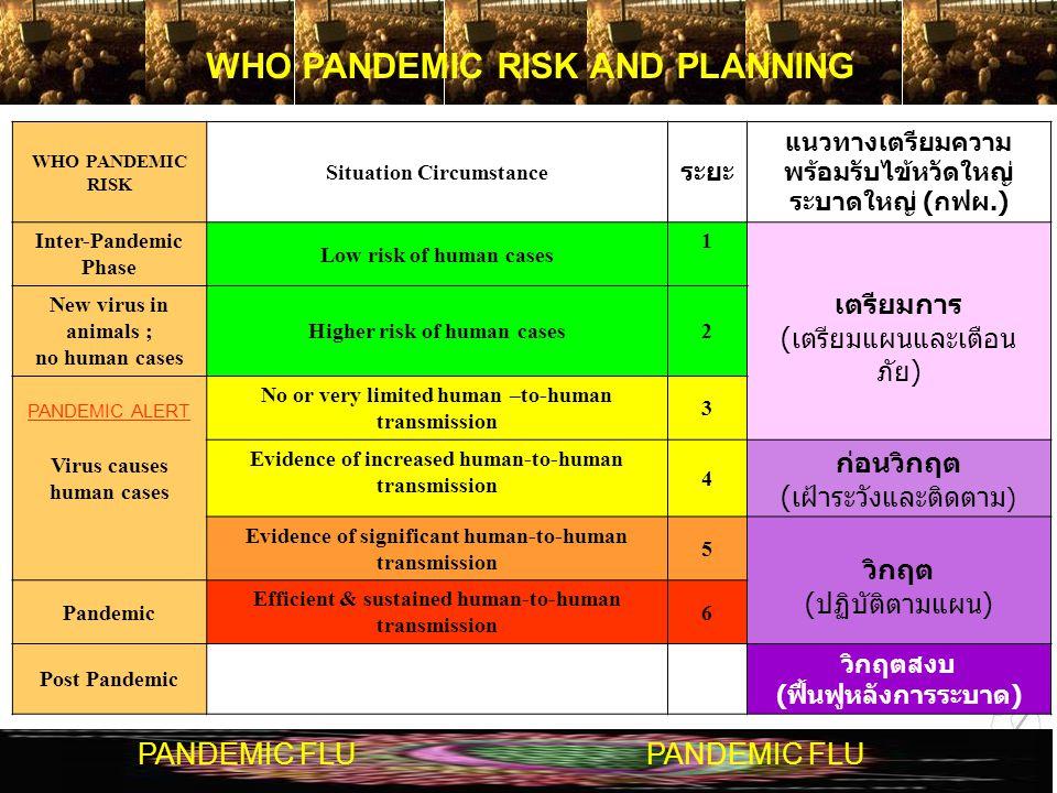 WHO PANDEMIC RISK AND PLANNING PANDEMIC FLU WHO PANDEMIC RISK Situation Circumstance ระยะ แนวทางเตรียมความ พร้อมรับไข้หวัดใหญ่ ระบาดใหญ่ ( กฟผ.) Inter