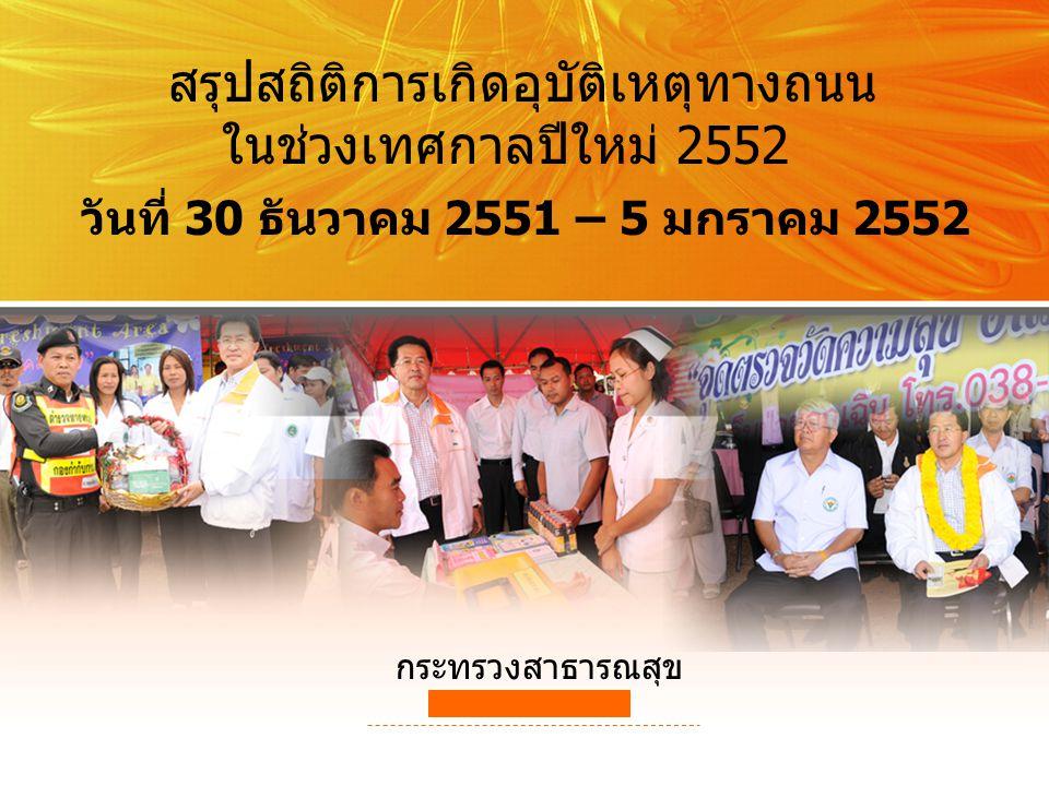 สรุปสถิติการเกิดอุบัติเหตุทางถนน ในช่วงเทศกาลปีใหม่ 2552 วันที่ 30 ธันวาคม 2551 – 5 มกราคม 2552 กระทรวงสาธารณสุข