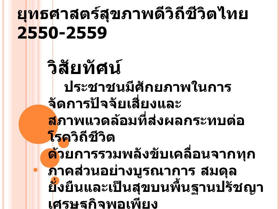 ยุทธศาสตร์สุขภาพดีวิถีชีวิตไทย 2550-2559 วิสัยทัศน์ ประชาชนมีศักยภาพในการ จัดการปัจจัยเสี่ยงและ สภาพแวดล้อมที่ส่งผลกระทบต่อ โรควิถีชีวิต ด้วยการรวมพลั