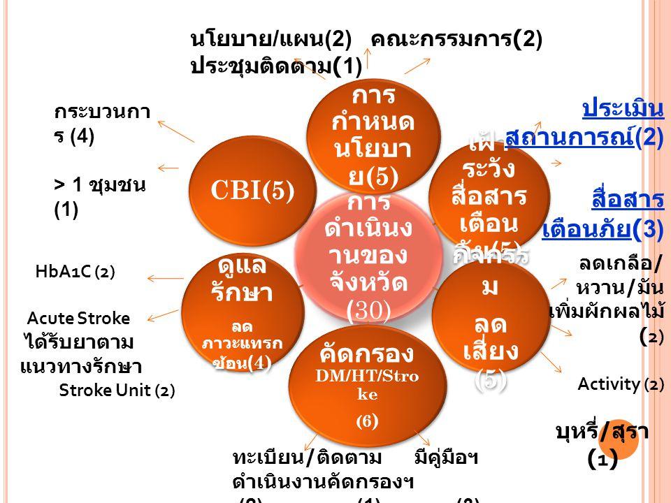 การ ดำเนินง านของ จังหวัด ( 30) การ กำหนด นโยบา ย (5) เฝ้า ระวัง สื่อสาร เตือน ภัย (5) กิจกรร ม ลด เสี่ยง (5) คัดกรอง DM/HT/Stro ke (6 ) ดูแล รักษา ลด