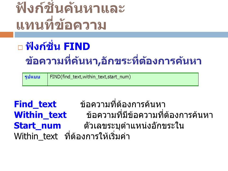 ฟังก์ชั่นค้นหาและ แทนที่ข้อความ  ฟังก์ชั่น FIND ข้อความที่ค้นหา, อักขระที่ต้องการค้นหา รูปแบบ FIND(find_text,within_text,start_num) Find_text ข้อความที่ต้องการค้นหา Within_text ข้อความที่มีข้อความที่ต้องการค้นหา Start_num ตัวเลขระบุตำแหน่งอักขระใน Within_text ที่ต้องการให้เริ่มค่า