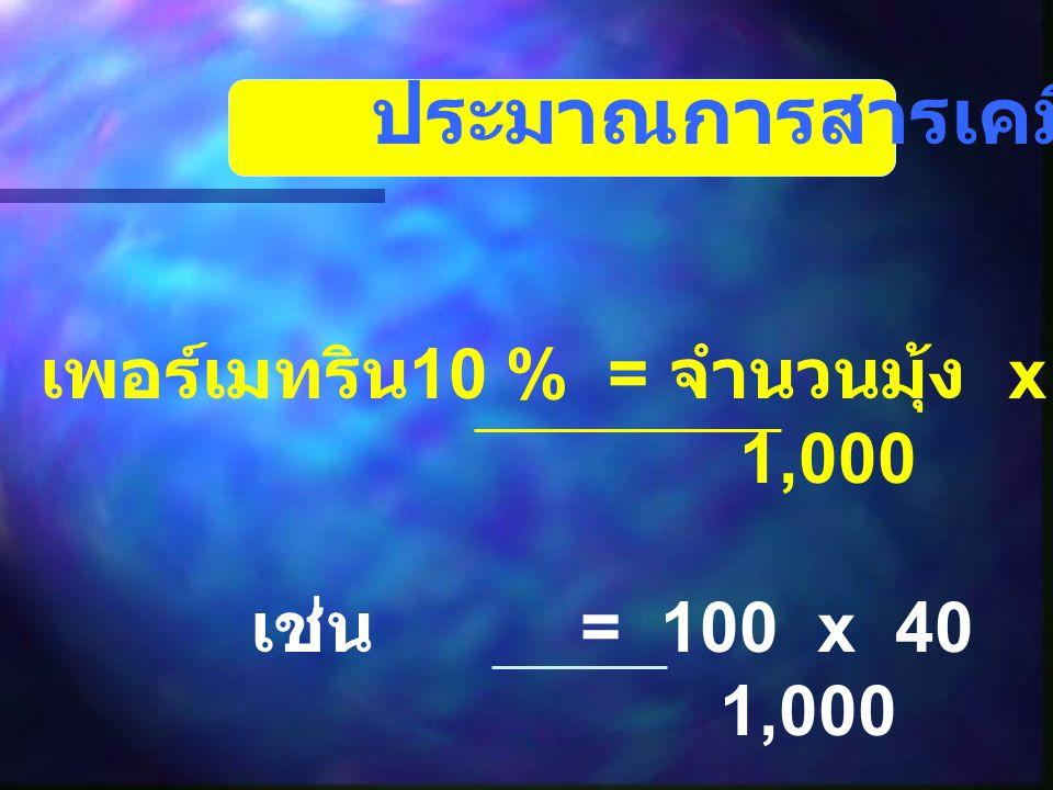 ประมาณการสารเคมีแบบง่ายๆ เพอร์เมทริน 10 % = จำนวนมุ้ง x 40 มล = ….. ลิตร 1,000 เช่น = 100 x 40 = 4 ลิตร 1,000