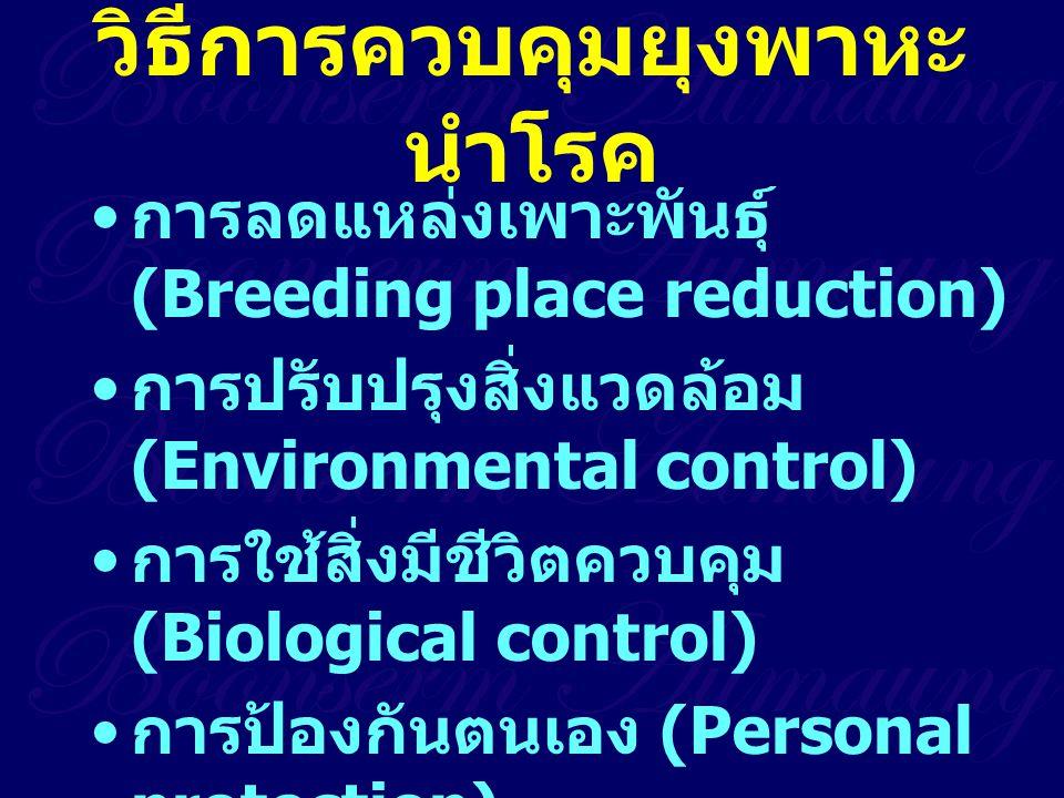 วิธีการควบคุมยุงพาหะ นำโรค การลดแหล่งเพาะพันธุ์ (Breeding place reduction) การปรับปรุงสิ่งแวดล้อม (Environmental control) การใช้สิ่งมีชีวิตควบคุม (Bio