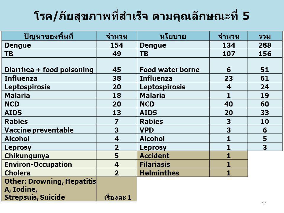 โรค/ภัยสุขภาพที่สำเร็จ ตามคุณลักษณะที่ 5 ปัญหาของพื้นที่จำนวนนโยบายจำนวนรวม Dengue154Dengue134288 TB49TB107156 Diarrhea + food poisoning45Food water b