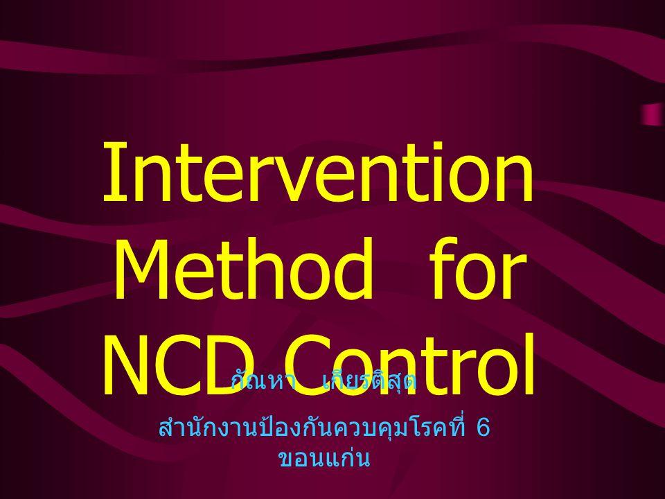 Intervention Method for NCD Control กัณหา เกียรติสุต สำนักงานป้องกันควบคุมโรคที่ 6 ขอนแก่น