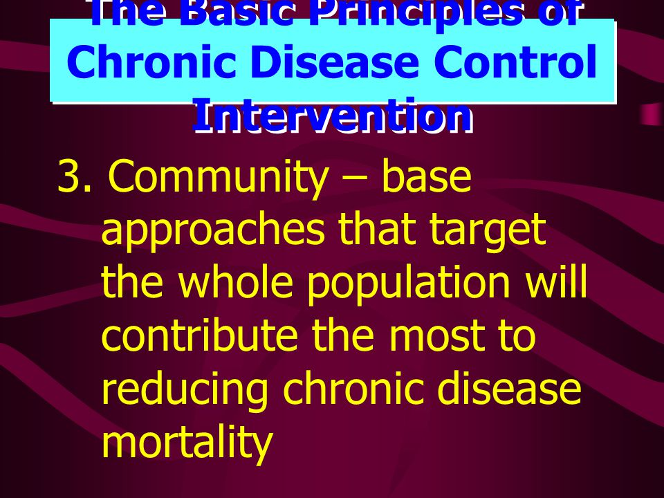 The Basic Principles of Chronic Disease Control Intervention 3.