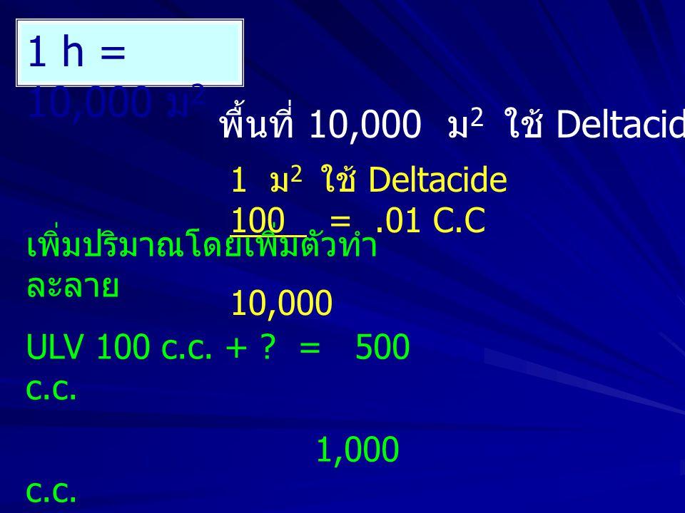 1 h = 10,000 ม 2 พื้นที่ 10,000 ม 2 ใช้ Deltacide 100 c.c 1 ม 2 ใช้ Deltacide 100 =.01 C.C 10,000 เพิ่มปริมาณโดยเพิ่มตัวทำ ละลาย ULV 100 c.c.