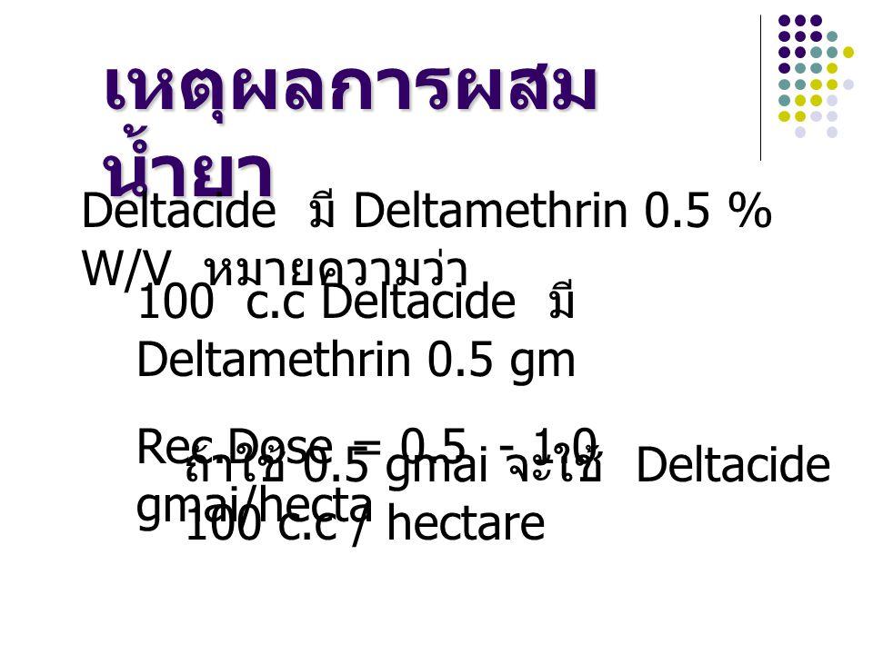 เหตุผลการผสม น้ำยา Deltacide มี Deltamethrin 0.5 % W/V หมายความว่า 100 c.c Deltacide มี Deltamethrin 0.5 gm Rec.Dose = 0.5 - 1.0 gmai/hecta ถ้าใช้ 0.5 gmai จะใช้ Deltacide 100 c.c / hectare