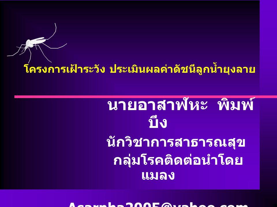 นายอาสาฬหะ พิมพ์ บึง นักวิชาการสาธารณสุข กลุ่มโรคติดต่อนำโดย แมลง Asarnha2005@yahoo.com โครงการเฝ้าระวัง ประเมินผลค่าดัชนีลูกน้ำยุงลาย