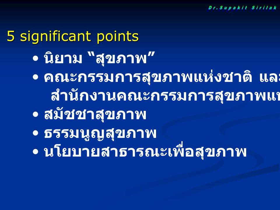 """นิยาม """" สุขภาพ """" คณะกรรมการสุขภาพแห่งชาติ และ สำนักงานคณะกรรมการสุขภาพแห่งชาติ สมัชชาสุขภาพ ธรรมนูญสุขภาพ นโยบายสาธารณะเพื่อสุขภาพ 5 significant point"""