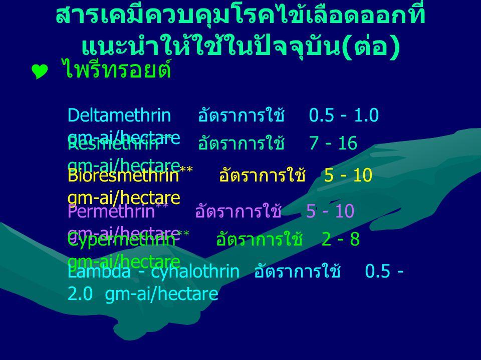 สารเคมีควบคุมโรค ไข้เลือดออก ที่ แนะนำให้ใช้ในปัจจุบัน ( ต่อ )  ไพรีทรอยต์ Deltamethrin อัตราการใช้ 0.5 - 1.0 gm-ai/hectare Resmethrin ** อัตราการใช้ 7 - 16 gm-ai/hectare Bioresmethrin ** อัตราการใช้ 5 - 10 gm-ai/hectare Permethrin ** อัตราการใช้ 5 - 10 gm-ai/hectare Cypermethrin ** อัตราการใช้ 2 - 8 gm-ai/hectare Lambda - cyhalothrin อัตราการใช้ 0.5 - 2.0 gm-ai/hectare