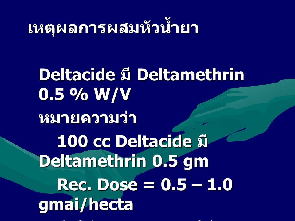 เหตุผลการผสมหัวน้ำยา Deltacide มี Deltamethrin 0.5 % W/V หมายความว่า 100 cc Deltacide มี Deltamethrin 0.5 gm Rec. Dose = 0.5 – 1.0 gmai/hecta ถ้าใช้ 0